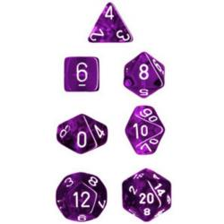 Translucent Purple/White (set of 7 dice)