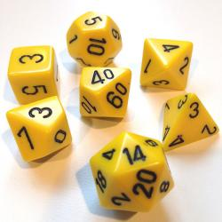 Opaque Yellow with Black (set of 7 dice)