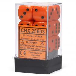 Opaque 16mm d6 Orange with Black Dice Block (12 d6)