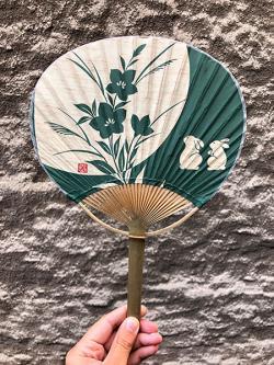 Rabbit Moon Green Bamboo Fan