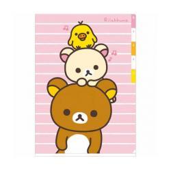Rilakkuma A4 Plastic Folder With Tabs: Pink & White Stripes
