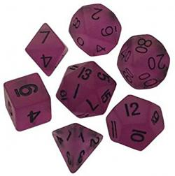 Mini Dice Glow Purple with Black Numers