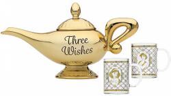 Aladdin Lamp Shaped Tea Pot and 2 Glasses Three Wishes