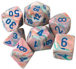 Festive Pop Art With Blue (set of 7 dice)