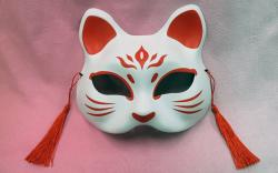 Half Mask Neko (Red & White Cat)
