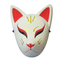 Folk Art Mask Tenko (White & Red)