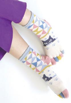 Five-toe Socks Black Cat Colorful