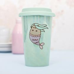 Pusheen Ceramic Travel Mug Mermaid Pattern