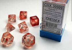 Nebula Red/Silver Luminary (set of 7 dice)