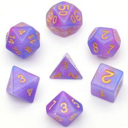 Pink & Purple with Glitter (set of 7 dice)