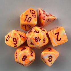 Festive Sunburst/Red (set of 7 dice)