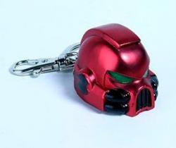 Warhammer Keychain: Metal Space Marine MKVII Helmet Blood Angels