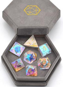 Semi-Precious Gemstone Dice Rainbow Crystal