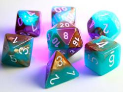 Gemini Poly Luminary Copper/Turquoise/White (set of 7 dice)