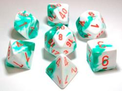 Gemini Mint Green/White/Orange (set of 7 dice)