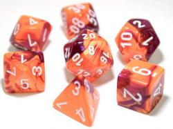 Gemini Orange/Purple/White (set of 7 dice)