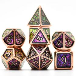Metal Dice Copper Plated Purple, Green & Gold Glitter (7 dice)