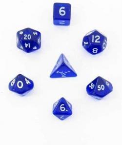 Mini Polyhedral Dice Set (7) - Blue/White
