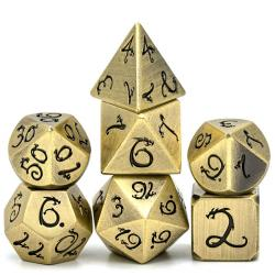 Metal Dice Plated Bronze Ancient Dragon Font (set of 7 dice)
