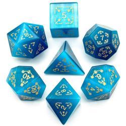 Semi-Precious Gemstone Dice Blue Cat Eye Engraved