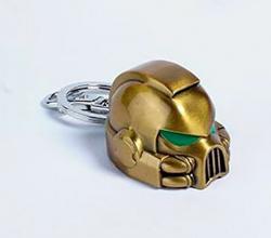Warhammer Keychain: Metal Space Marine MKVII Helmet Gold