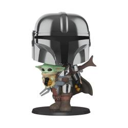 The Mandalorian holding The Child Supersized Pop! Vinyl Figure