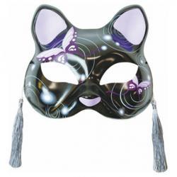 Half Mask Neko (Purple Butterflies Cat)