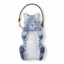 Cat Smartphone Pouch Gray