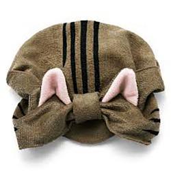 Cat Towel Cap Brown Striped