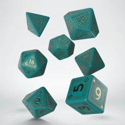 RuneQuest RPG - Turquoise & Gold Dice Set (7dice set)