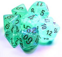 Borealis Light Green/Gold Luminary (set of 7 dice)