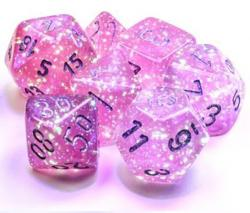 Borealis Pink/Silver Luminary (set of 7 dice)