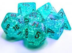 Borealis Teal/Gold Luminary (set of 7 dice)