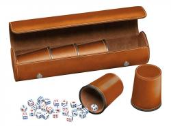 Synthetic Leather Dice Cup Set (Brown)