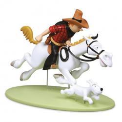 Figur 12 cm resin Tintin Cowboy på häst