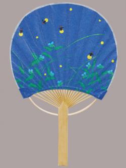 Mini Bamboo Fan: Hotaru (Fireflies)