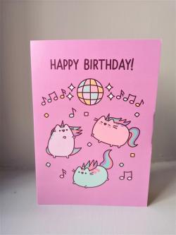 Pusheen Unicorns Happy Birthday Card