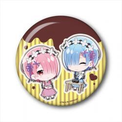 Choi Deka Can Badge Ram & Rem (Valentine Ver.)