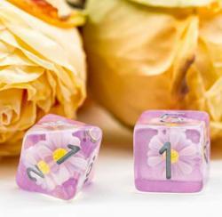 Daisy Purple & White Dice (set of 7 dice)