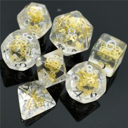 Gear Wheel Transparent Glitter Dice (set of 7 dice)