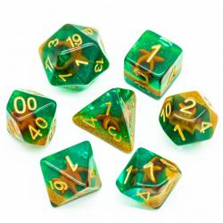 Starfish Green with Sand Dice (set of 7 dice)