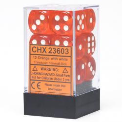 Translucent 16mm d6 Orange with White Dice Block (12 d6)
