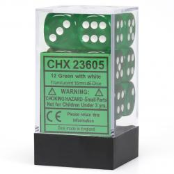 Translucent 16mm d6 Green with White Dice Block (12 d6)