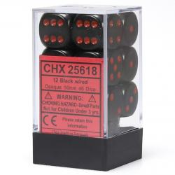 Opaque 16mm d6 Black with Red Dice Block (12 d6)