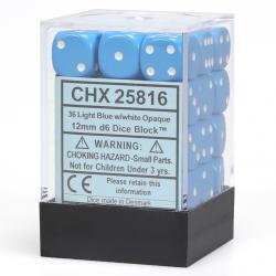 Opaque Light Blue with White Dice Block (36 d6)