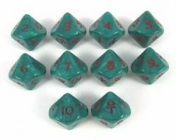 Ankh d10 Dice Block Green with red numbers